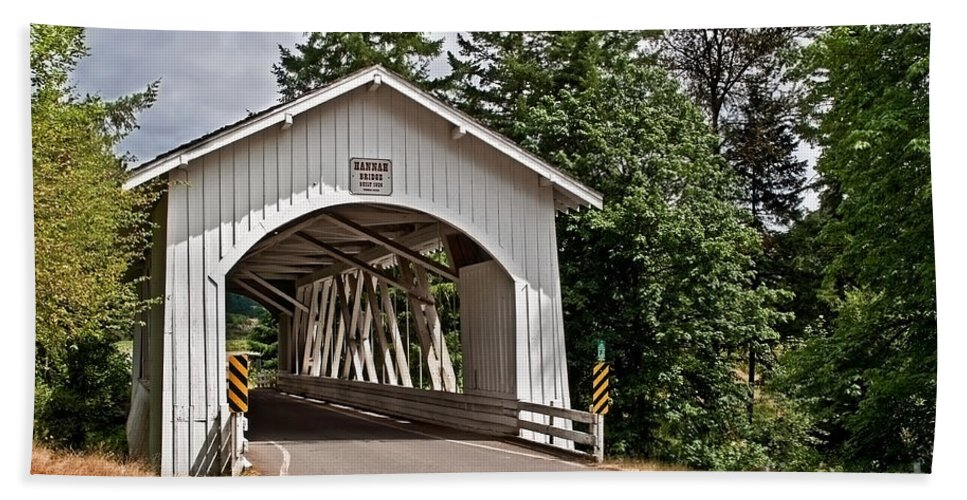 Covered Bridge Hand Towel featuring the photograph White Covered Bridge Hannah Bridge Art Prints by Valerie Garner