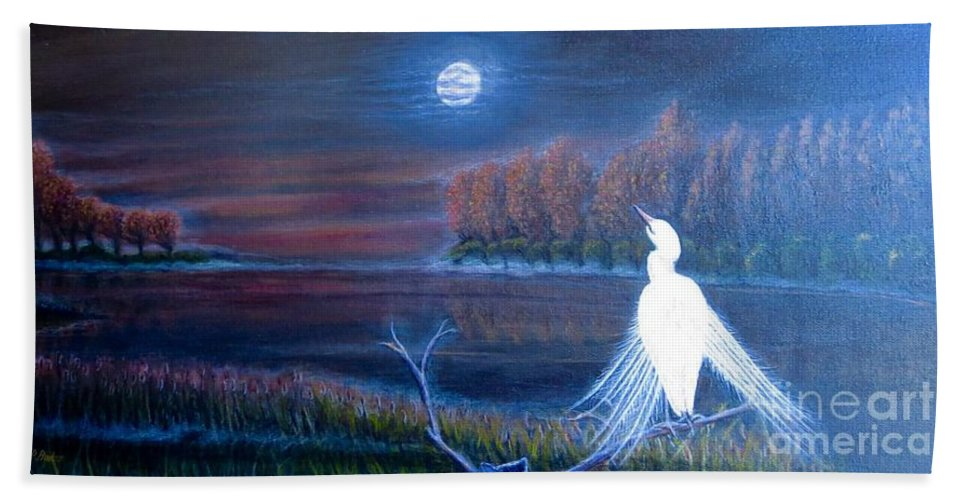 Nature Scene Full Moon Rising As The Sun Is Setting Illuminating The Night Sky Soft Moonlight And Night Clouds Lake Lined With Trees Changing With The Autumn Season And Leaves With Bright Golden Orange And Crimson Leaves Lit With The Light Of The Moon Cattails In The Foreground Submerged In The Lake Water White Crane With Feather Spread Looks Like It Is Dancing To The Light Of The Moon Crane Painting Acrylic Painting Bath Sheet featuring the painting White Crane Dancing In The Light Of The Moon by Kimberlee Baxter