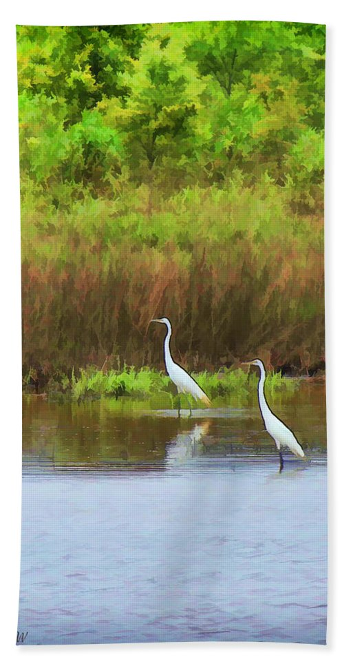 Cranes Bath Sheet featuring the photograph White Cranes by Bonnie Willis