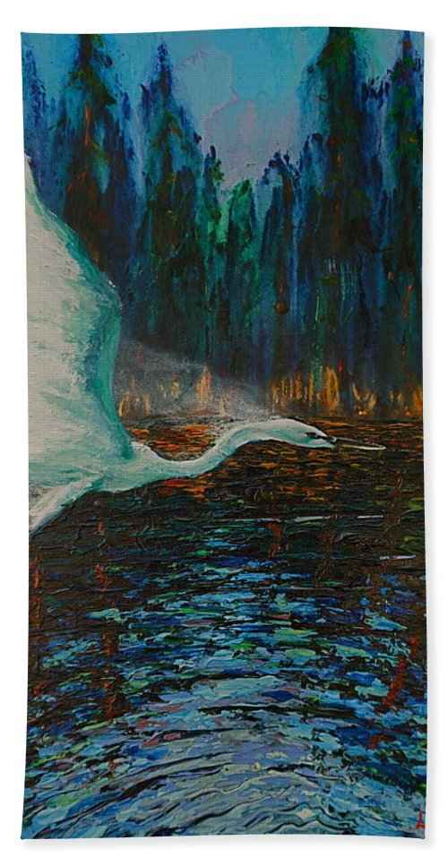 Wildlife Hand Towel featuring the painting White Egret by Les Lyden