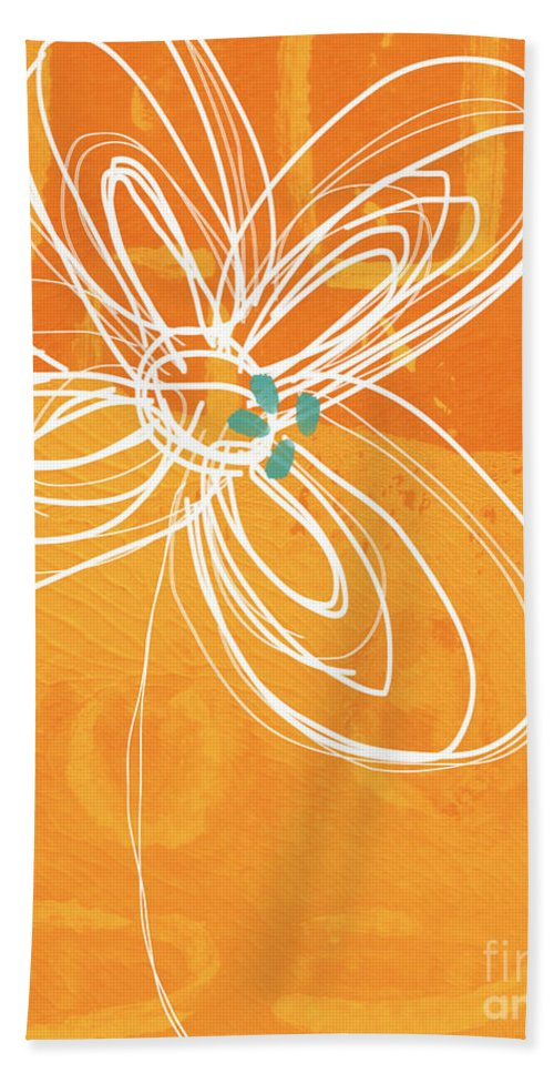 Flower Hand Towel featuring the painting White Flower on Orange by Linda Woods