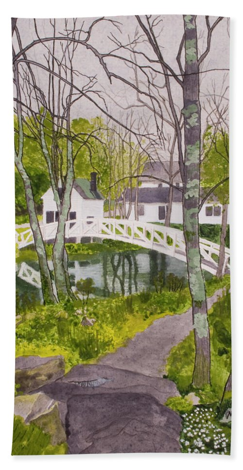 Maine Bath Sheet featuring the painting White Footbridge by Mike Robles
