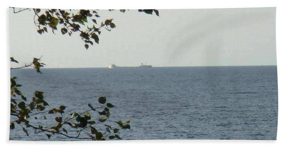 Ore Carrier Hand Towel featuring the photograph White Freighter by Bonfire Photography