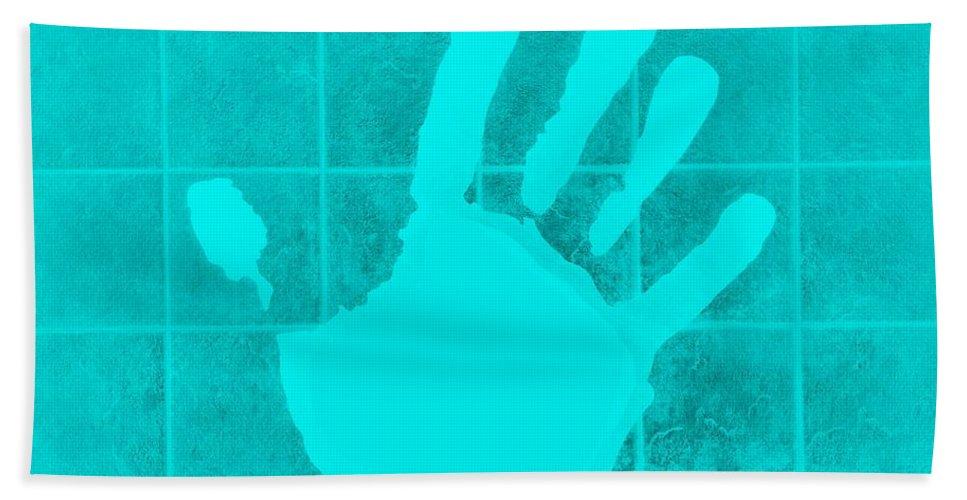Hand Bath Sheet featuring the photograph White Hand Aquamarine by Rob Hans