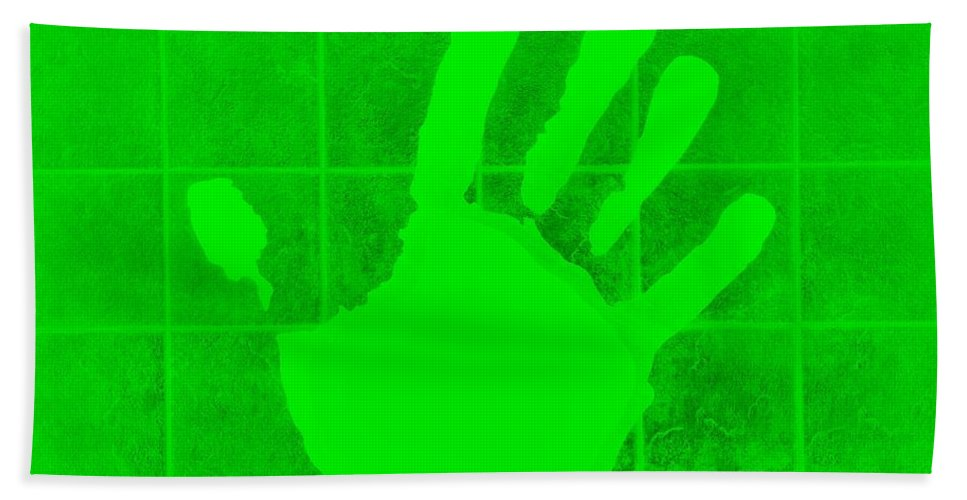 Hand Bath Sheet featuring the photograph White Hand Green by Rob Hans
