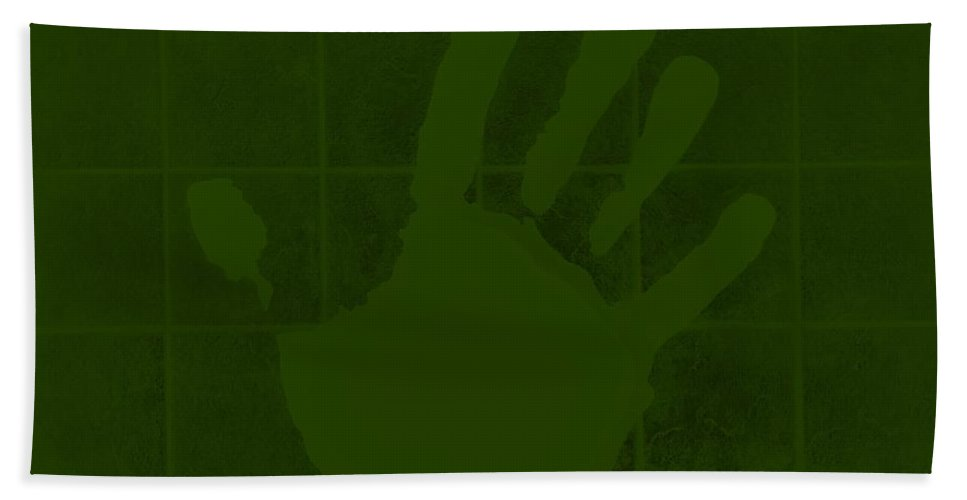 Hand Hand Towel featuring the photograph White Hand Olive Green by Rob Hans