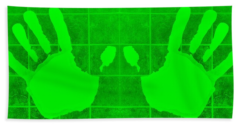 Hand Hand Towel featuring the photograph White Hands Green by Rob Hans