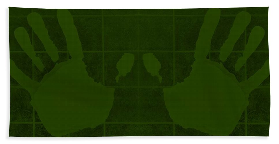 Hand Bath Sheet featuring the photograph White Hands Olive Green by Rob Hans