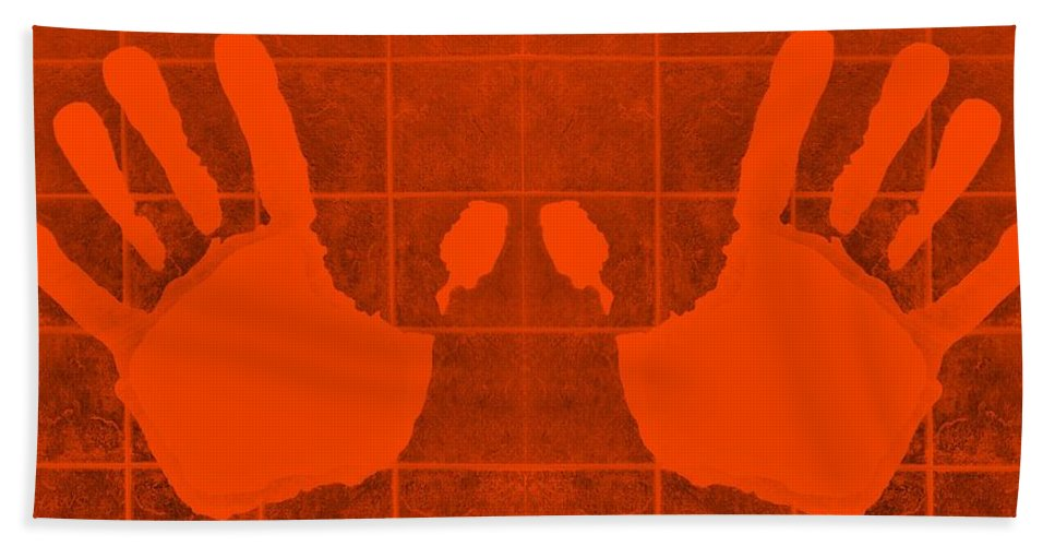 Hand Bath Sheet featuring the photograph White Hands Orange by Rob Hans