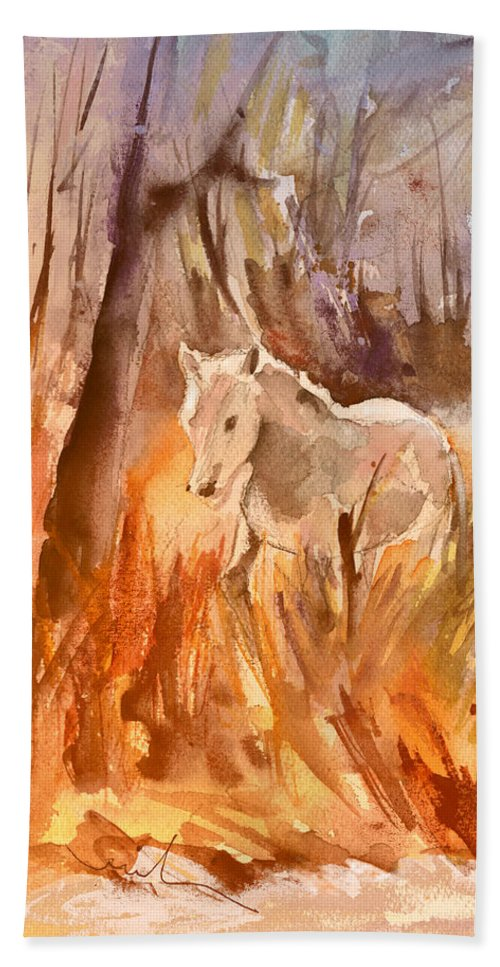 Travel Hand Towel featuring the painting White Horse In The Camargue 01 by Miki De Goodaboom