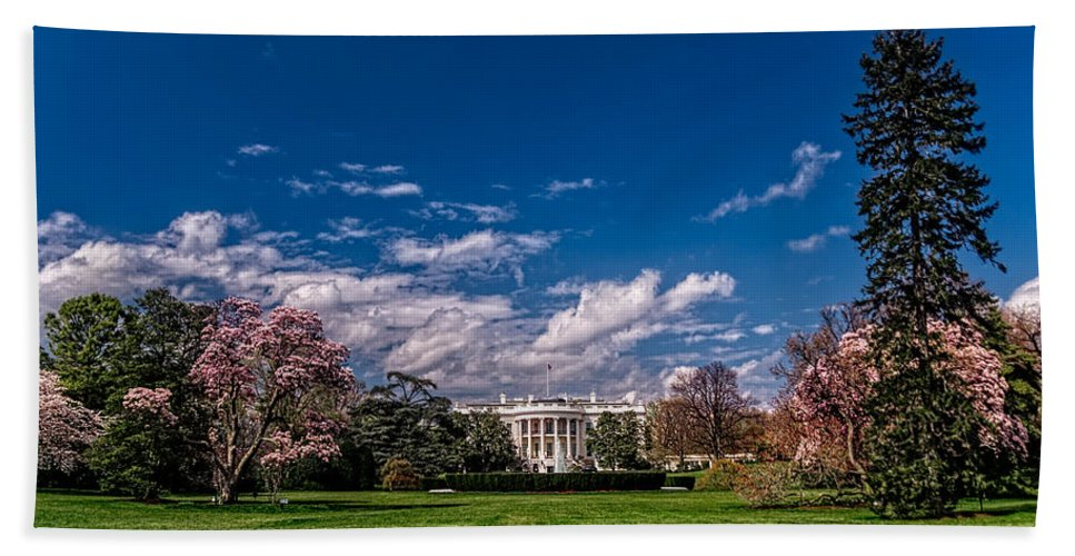 White House Hand Towel featuring the photograph White House Lawn In Spring by Christopher Holmes