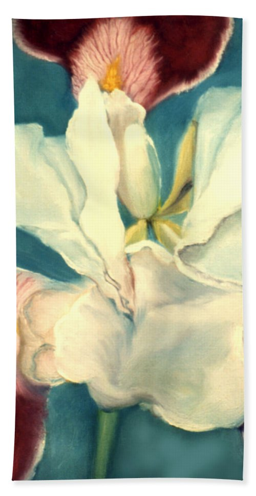 Flowers Bath Sheet featuring the painting White Iris by Anni Adkins