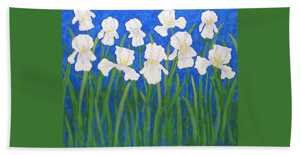 Iris Paintings Hand Towel featuring the painting White Irises by J Loren Reedy