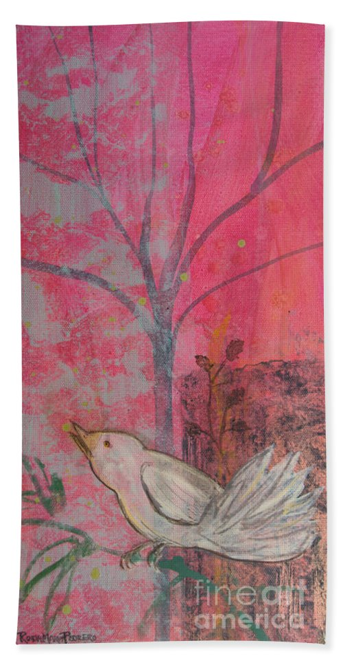 White Bird Bath Sheet featuring the painting White Peace Bird On Pink by Robin Maria Pedrero