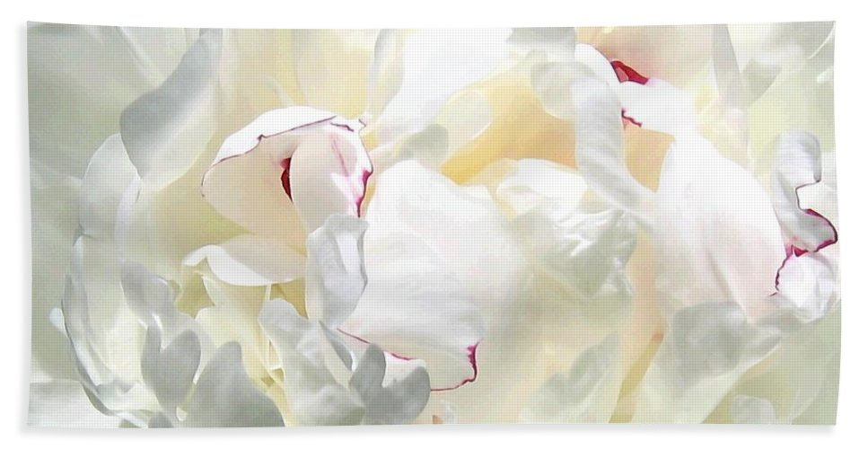 White Peony Hand Towel featuring the photograph White Peony by Will Borden