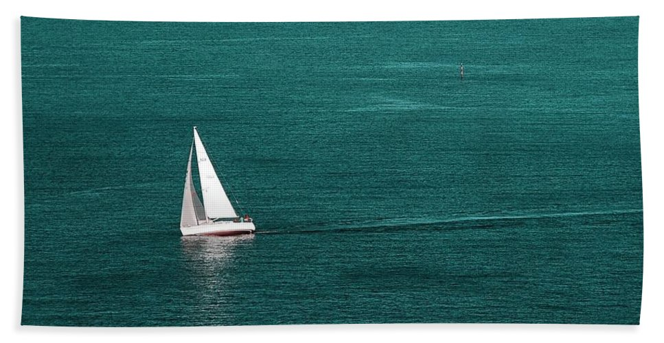 Summer Hand Towel featuring the photograph White Sailboat by Sonya Kanelstrand