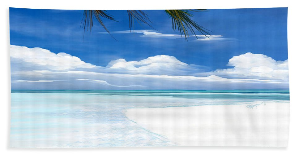Seascape.seascape Art Hand Towel featuring the digital art White Sand And Turquoise Sea by Anthony Fishburne