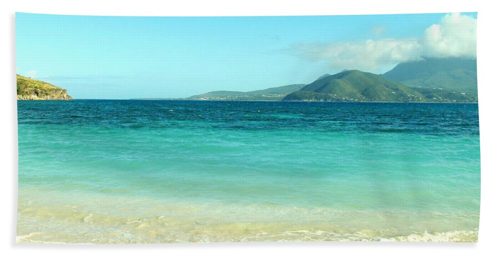 St Kitts Hand Towel featuring the photograph White Sand Blue Sky Blue Water by Ian MacDonald