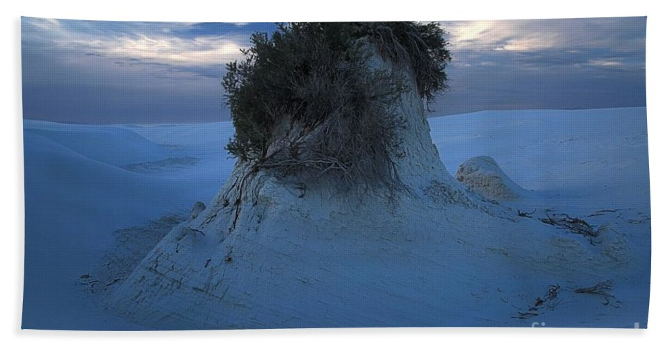 White Sands National Monument Hand Towel featuring the photograph White Sands Turns Blue by Adam Jewell