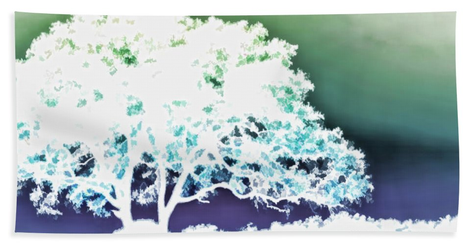 Nature Hand Towel featuring the painting White Silhouette Of Oak Tree Against Blue And Green Watercolor Background by Elaine Plesser