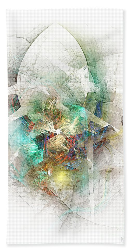 Abstract Bath Sheet featuring the digital art White Star 474-09-13 Marucii by Marek Lutek