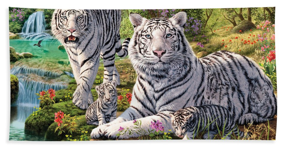 Steve Read Bath Towel featuring the photograph White Tiger Clan by MGL Meiklejohn Graphics Licensing