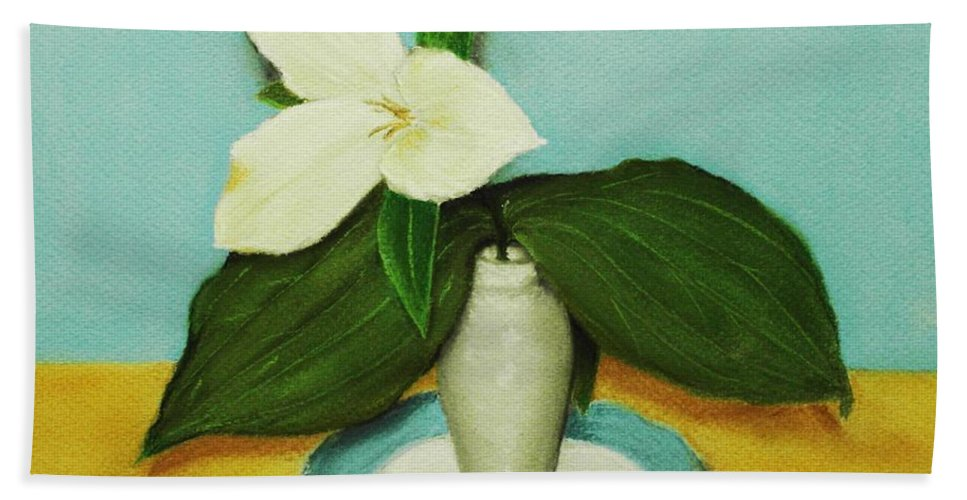 Wild Flower Bath Sheet featuring the painting White Trillium by Anastasiya Malakhova