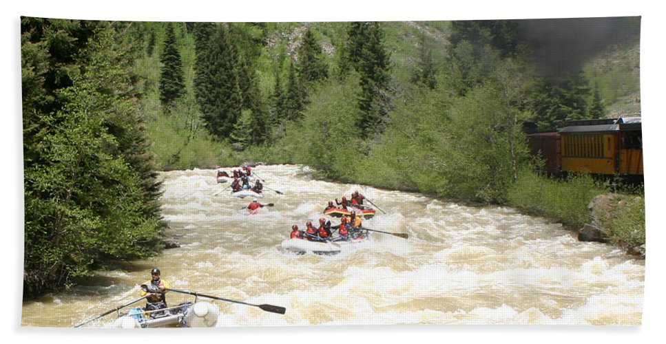 White Water Excitment Along The Animas River Shot From The Durango-silverton Steam Train Hand Towel featuring the photograph Animas River White Water Rafting The by Jack Pumphrey