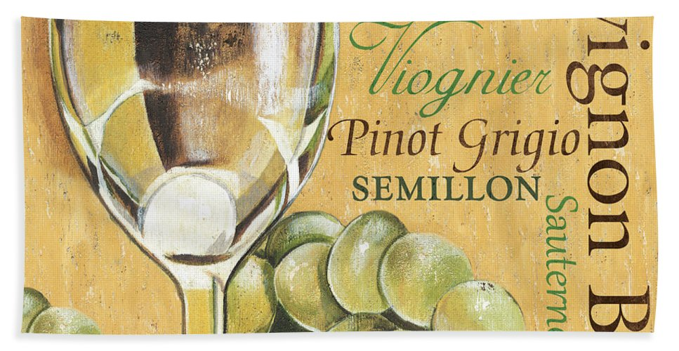 Wine Bath Towel featuring the painting White Wine Text by Debbie DeWitt