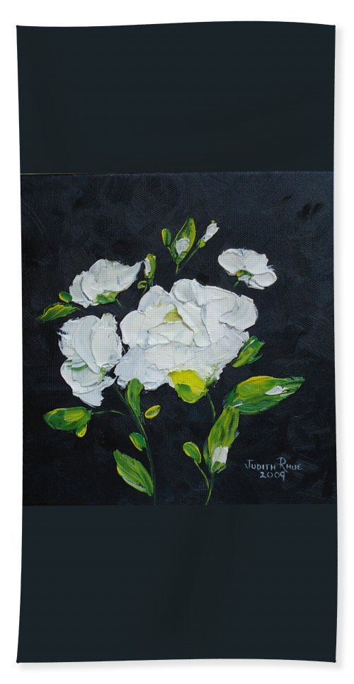 Flowers Bath Sheet featuring the painting White Wonder by Judith Rhue