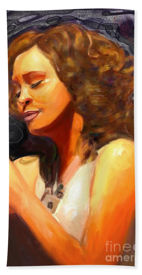 Witney Houston Bath Sheet featuring the painting Whitney Gone Too Soon by Vannetta Ferguson