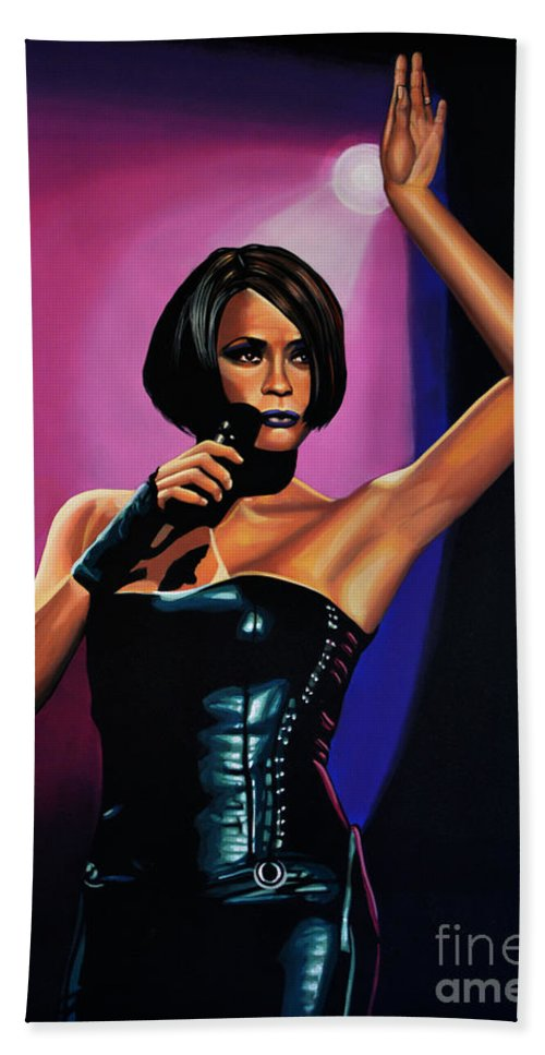 Whitney Houston Bath Towel featuring the painting Whitney Houston On Stage by Paul Meijering