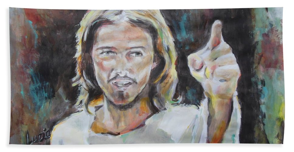Jesus Christ Superstar Hand Towel featuring the painting Who Are You by Lucia Hoogervorst