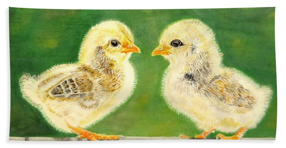 Chicks Hand Towel featuring the painting Who Are You? by Zina Stromberg