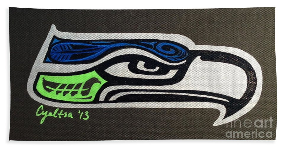 Seattle Seahawks Hand Towel featuring the painting Who Ready by A Cyaltsa Finkbonner