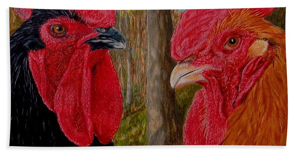Roosters Bath Towel featuring the painting Who You Calling Chicken by Karen Ilari