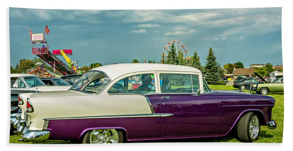 Automotive Hand Towel featuring the photograph Wicked 1955 Chevy Profile by Steve Harrington