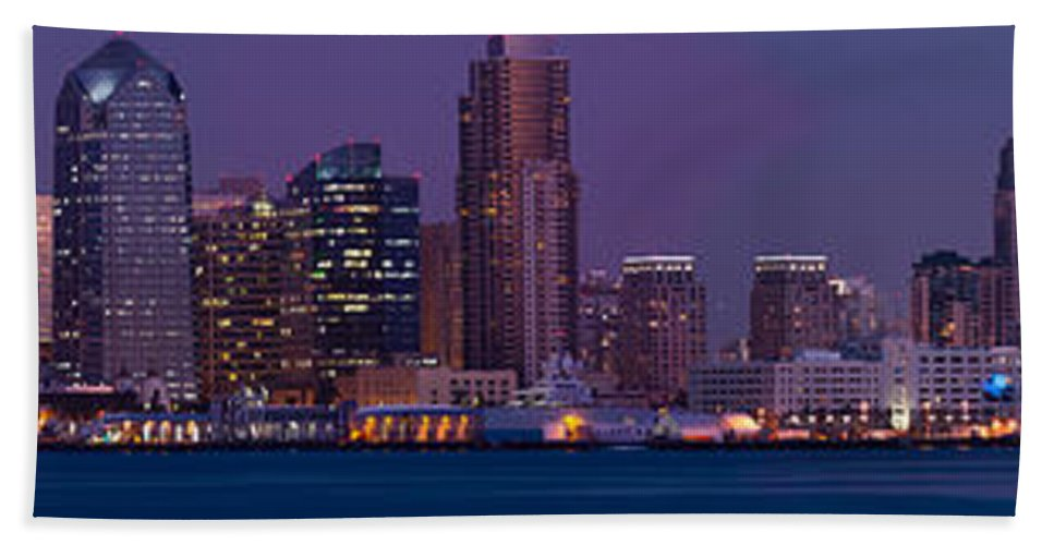 Photography Bath Sheet featuring the photograph Wide Panoramic Of Scenic San Diego by Panoramic Images
