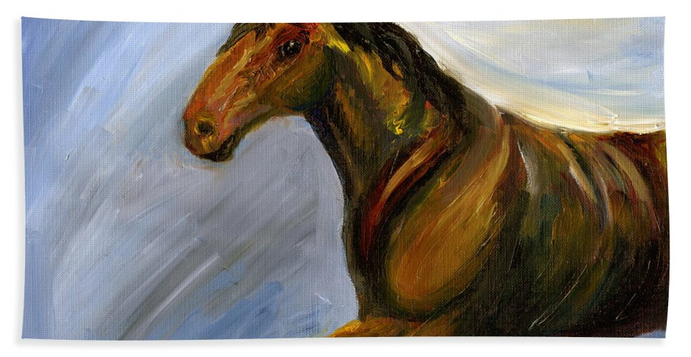 Horse Hand Towel featuring the painting Wilbur by J M Lister
