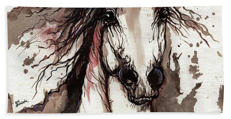 Horse Bath Sheet featuring the painting Wild Arabian Horse by Angel Ciesniarska