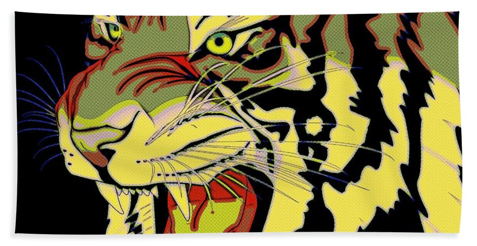 Tiger Bath Sheet featuring the painting Wild At Heart Shere Khan by Florian Rodarte
