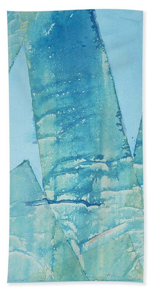 Abstract Painting Hand Towel featuring the painting Wild Blue Waves by Asha Carolyn Young