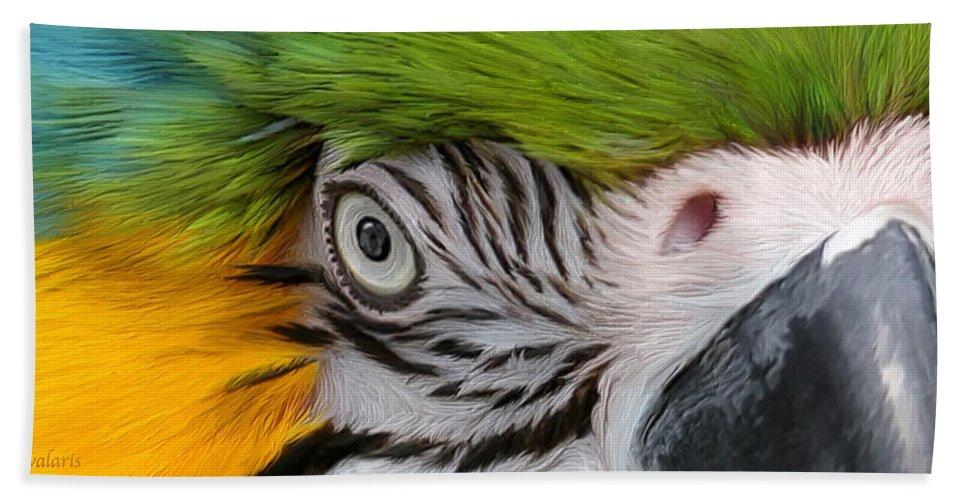 Parrot Bath Sheet featuring the mixed media Wild Eyes - Parrot by Carol Cavalaris