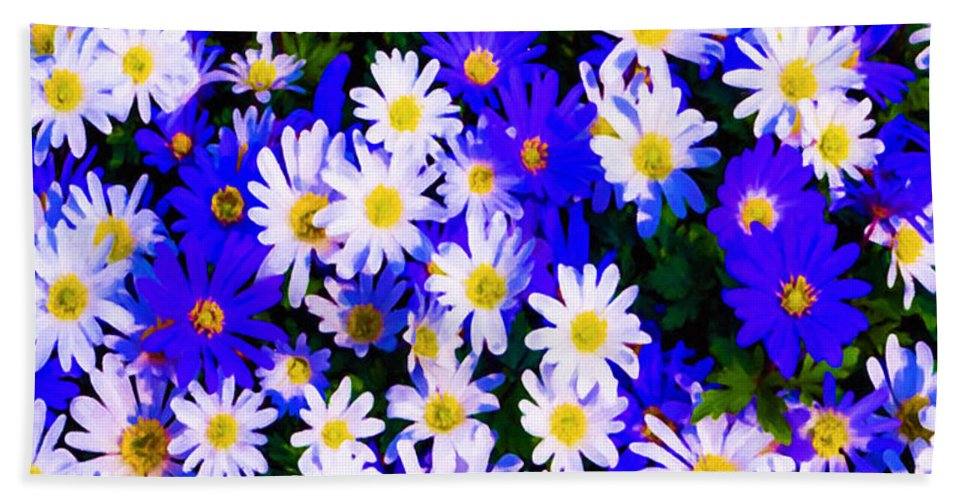 Garden Hand Towel featuring the painting Wild Flowers 3 by Jeelan Clark