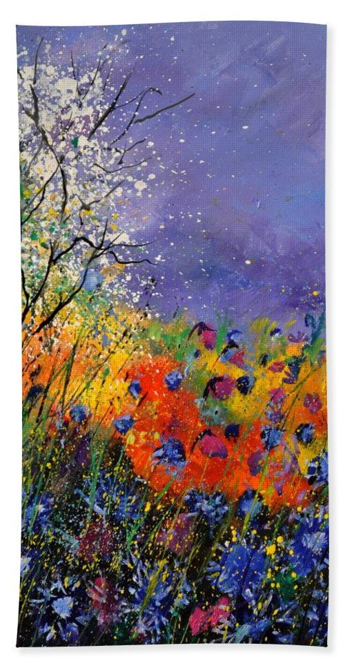 Landscape Hand Towel featuring the painting Wild Flowers 4110 by Pol Ledent