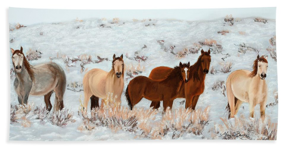 Animals Hand Towel featuring the painting Wild Horses by Mary Benke