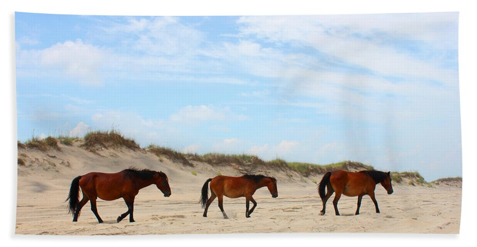 Wild Horses Of Corolla - Outer Banks Obx Ocean Sand Dune Atlantic North Carolina Vacation Duck Currituck Water Travel Trip Remote Bath Sheet featuring the mixed media Wild Horses Of Corolla - Outer Banks Obx by Design Turnpike