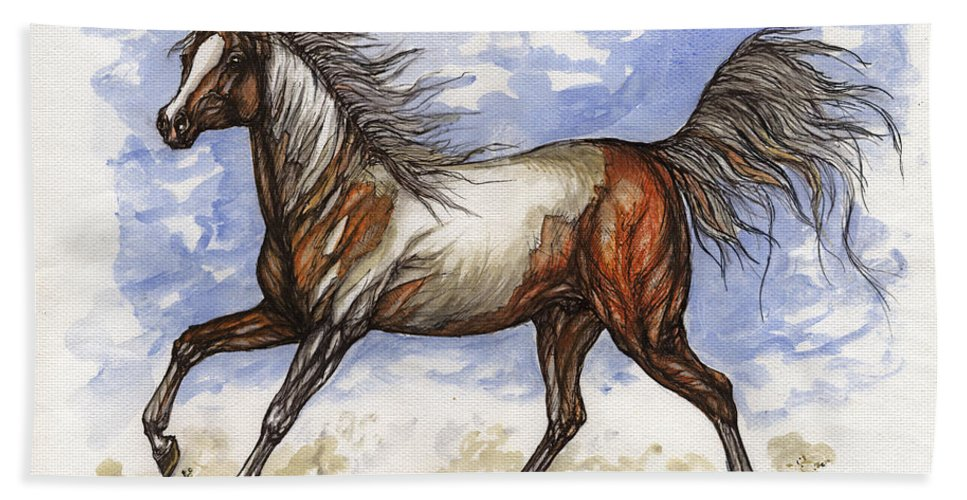 Wild Horse Hand Towel featuring the painting Wild Mustang by Angel Ciesniarska