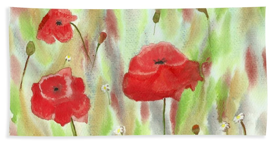 Wild Poppies Bath Sheet featuring the painting Wild Poppies by Tracey Williams