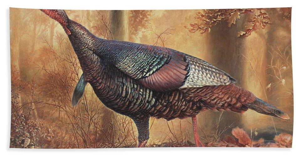 Wild Turkey Bath Sheet featuring the painting Wild Turkey by Hans Droog